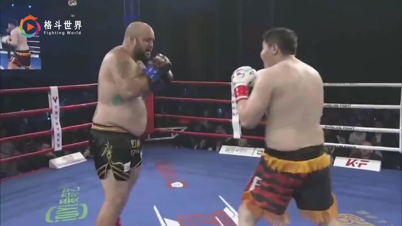 胖子拳王打急眼狮子吼吓唬人,中国名将阿斯哈提一招制敌美拳王跪