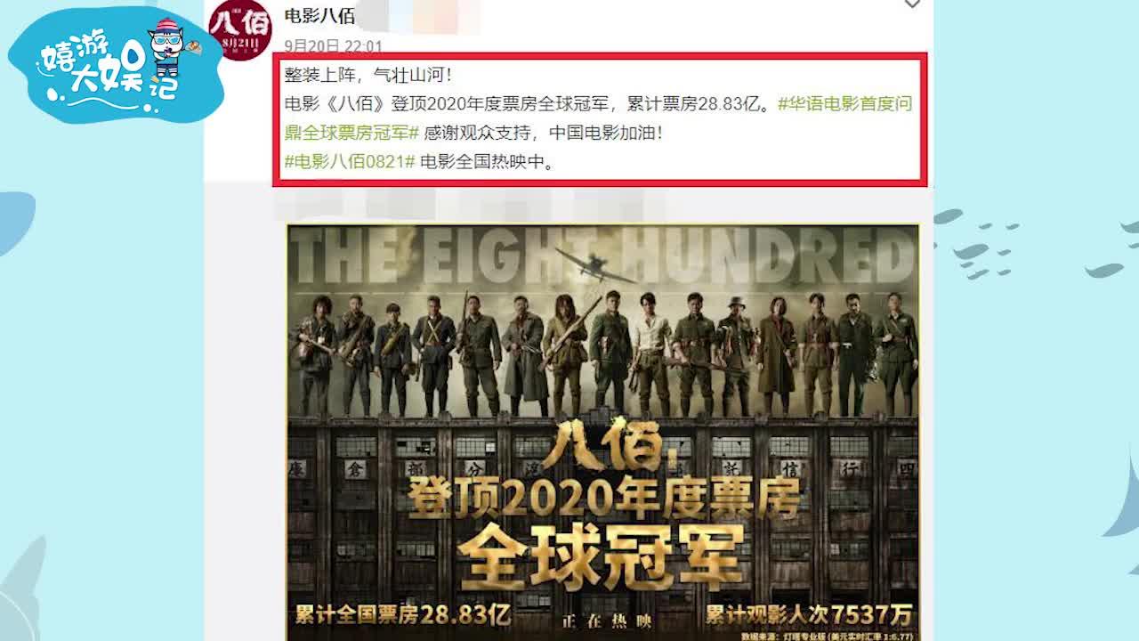 战狼2甘拜下风?华语电影首度!八佰夺2020年度票房全球冠军