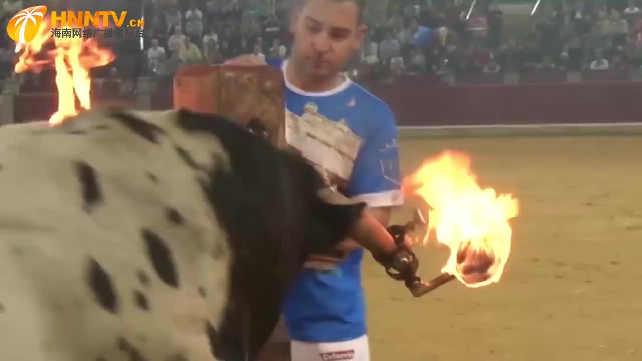疯狂的斗牛士,为了狂欢竟在牛角上点火,你想过牛的感受吗?
