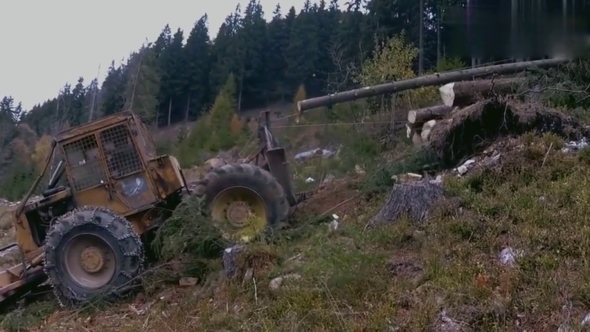 拖拉机运输木材,牛逼的不是拖拉机而是运输木材的方式!脑洞大开