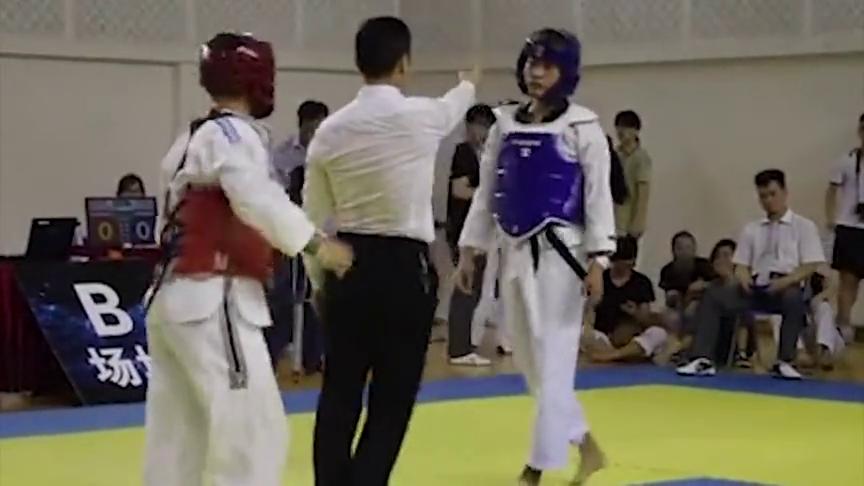 广东省大学生跆拳道比赛新规则惊现剪刀脚爆头