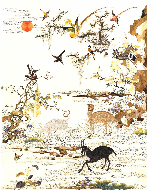 故宫博物院珍藏,《三羊开泰图》轴,工艺精致,堪称广绣中的珍品
