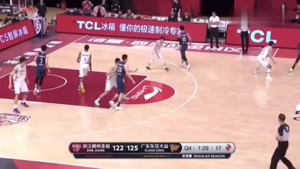广东对阵浙江稠州,第四节关键时刻马尚赵睿杜润旺三分球锁赛局!