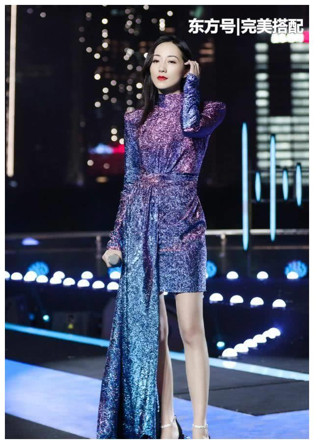 """韩雪才是真正的""""腿精"""",蓝紫色亮片礼裙,色彩梦幻艳压全场"""