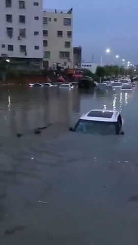 一场大雨过后,大街上全都是报废车,大自然灾害无人能挡