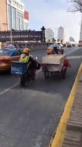 一位外卖小哥用脚帮助老爷爷推着二轮车走上坡路。