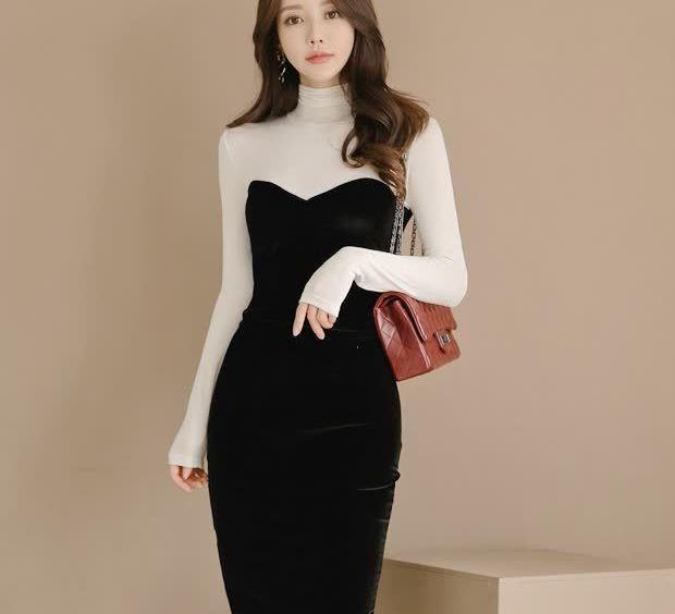 假两件连衣裙,纱线与金丝绒两种面料的碰撞,迸发不一样的魅力