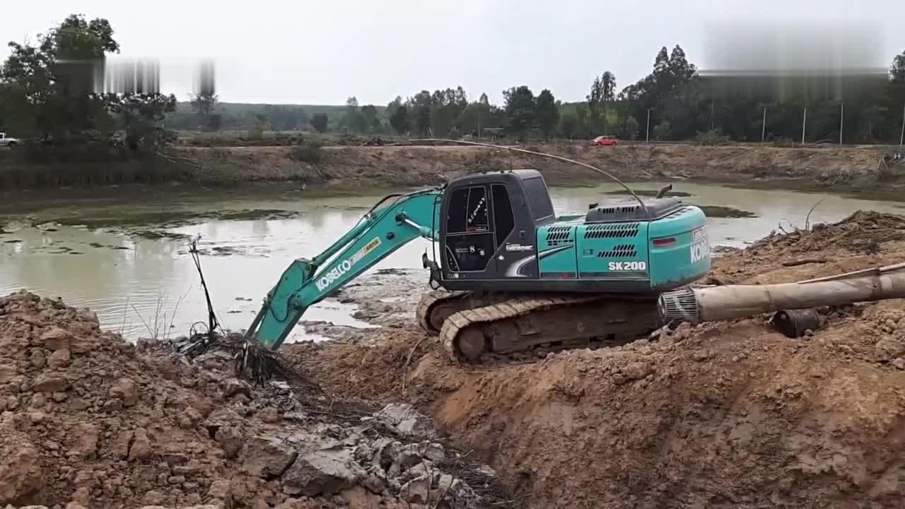 挖掘机挖鱼塘抽水捕鱼,网友:够油钱吗