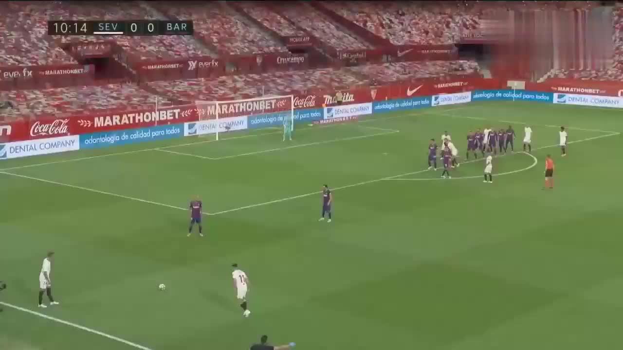 连胜止步!巴萨客场0 0塞维利亚,梅西任意球两造险!
