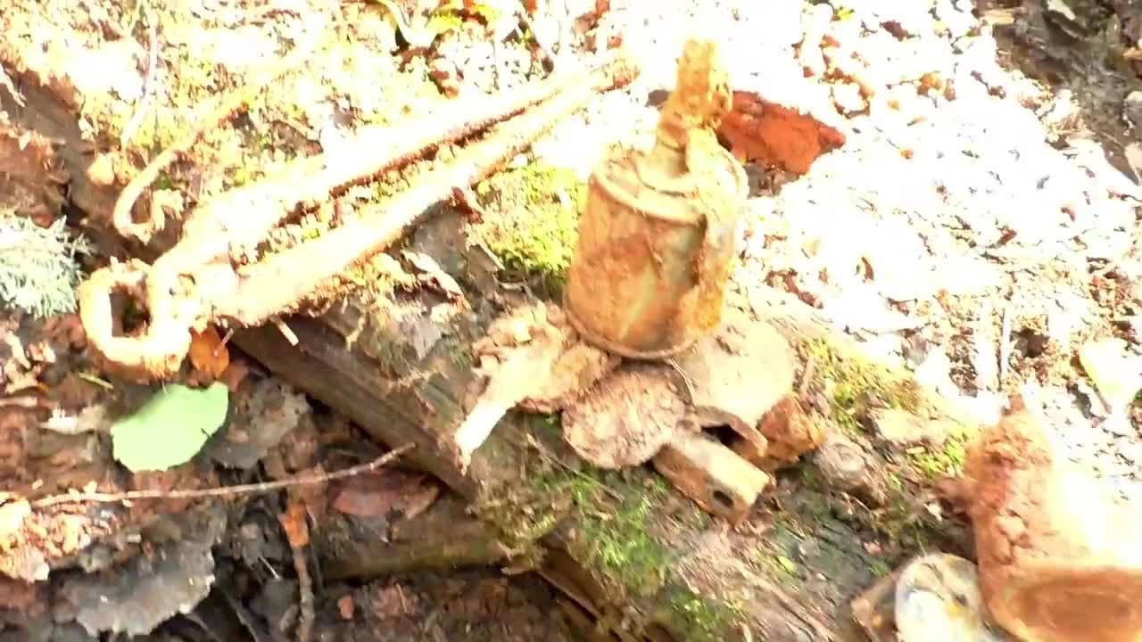 二战战场遗留的武器装备,老外找到不少,有手榴弹还有炮弹壳