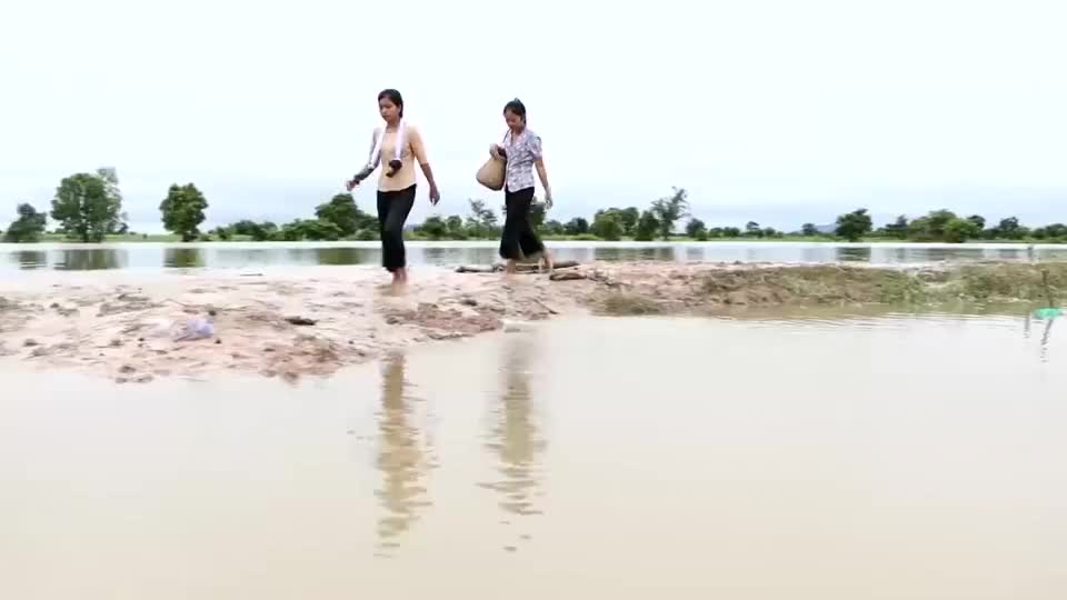 农村户外,姐妹俩拉了10米粘网捕鱼,稻田里的鱼真多啊
