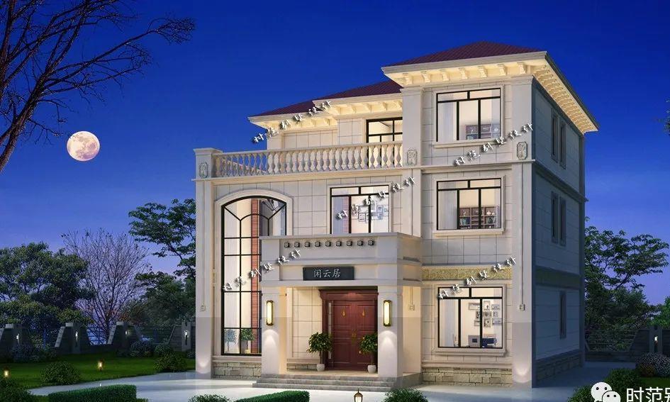 带棋牌室影视厅的13x13米三层欧式别墅,适合农村大家庭自建