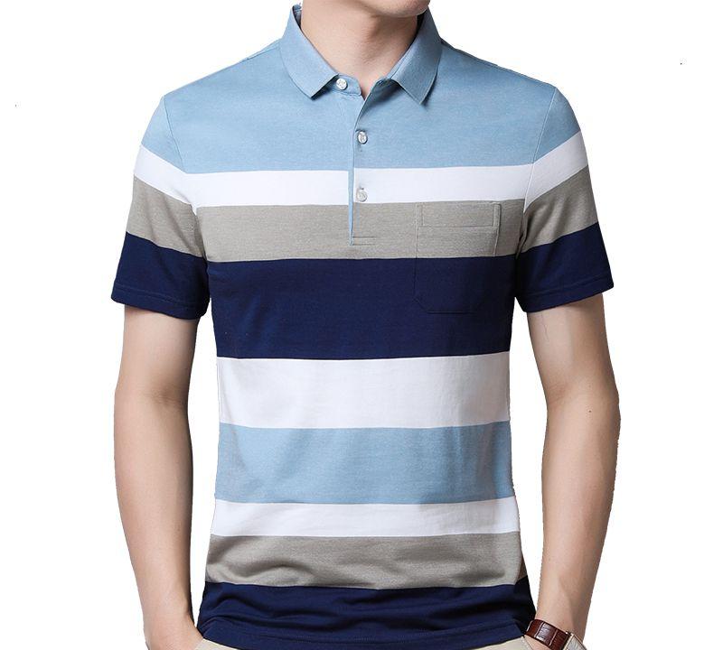 夏季男短袖t恤,丝光棉横条纹体恤,针织polo衫口袋百搭款