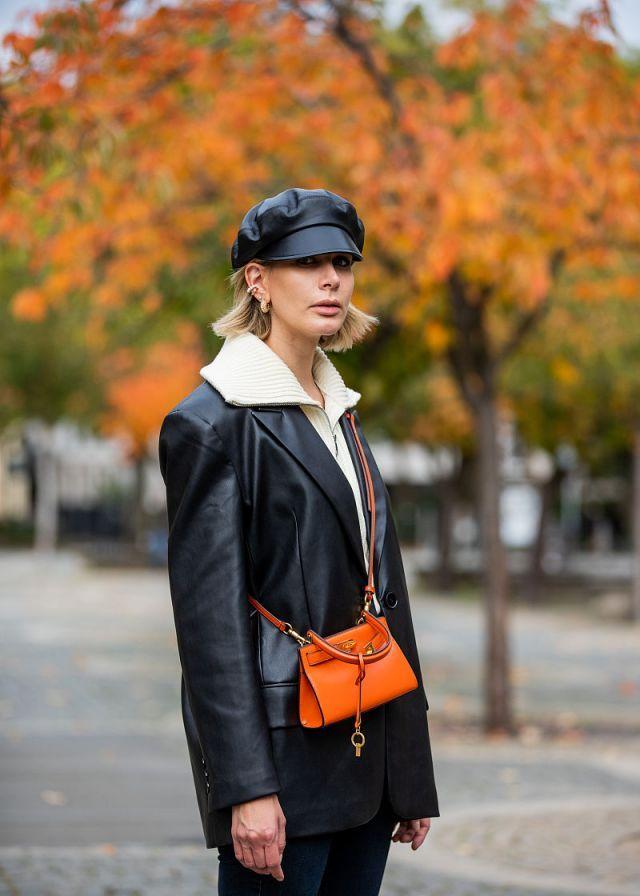 时尚街拍:秋冬帅气穿搭 皮衣皮帽干练潇洒