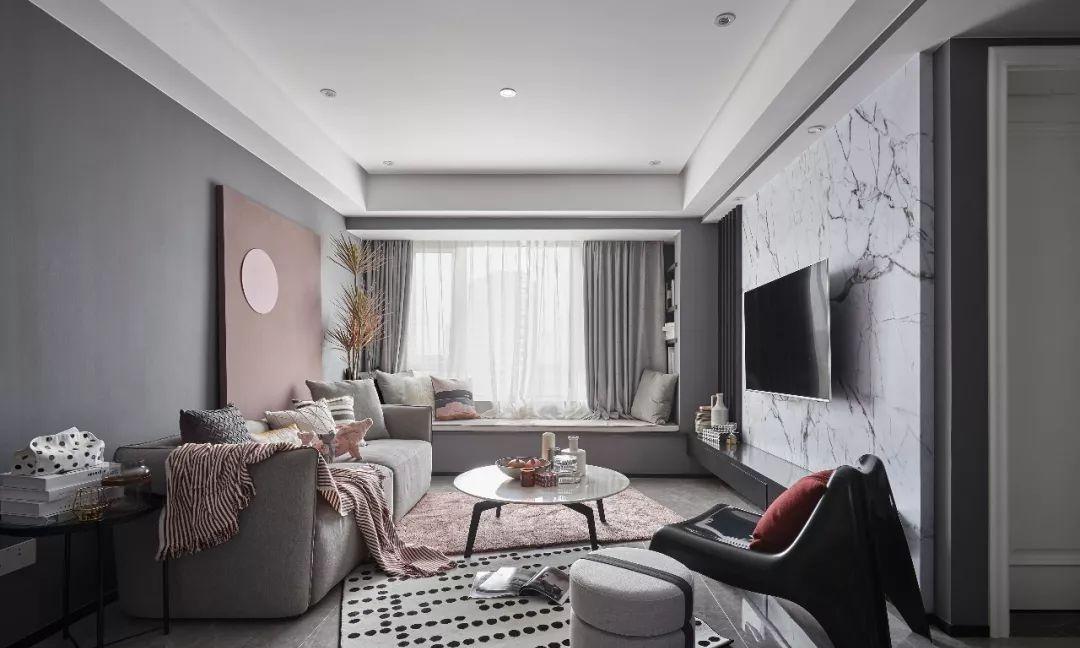 现代风格软装设计,高级灰+烟粉,让家的气质优雅!