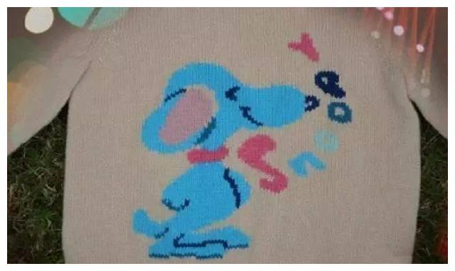 针织可爱的史努比图案男童提花羊绒衫,附教程图解