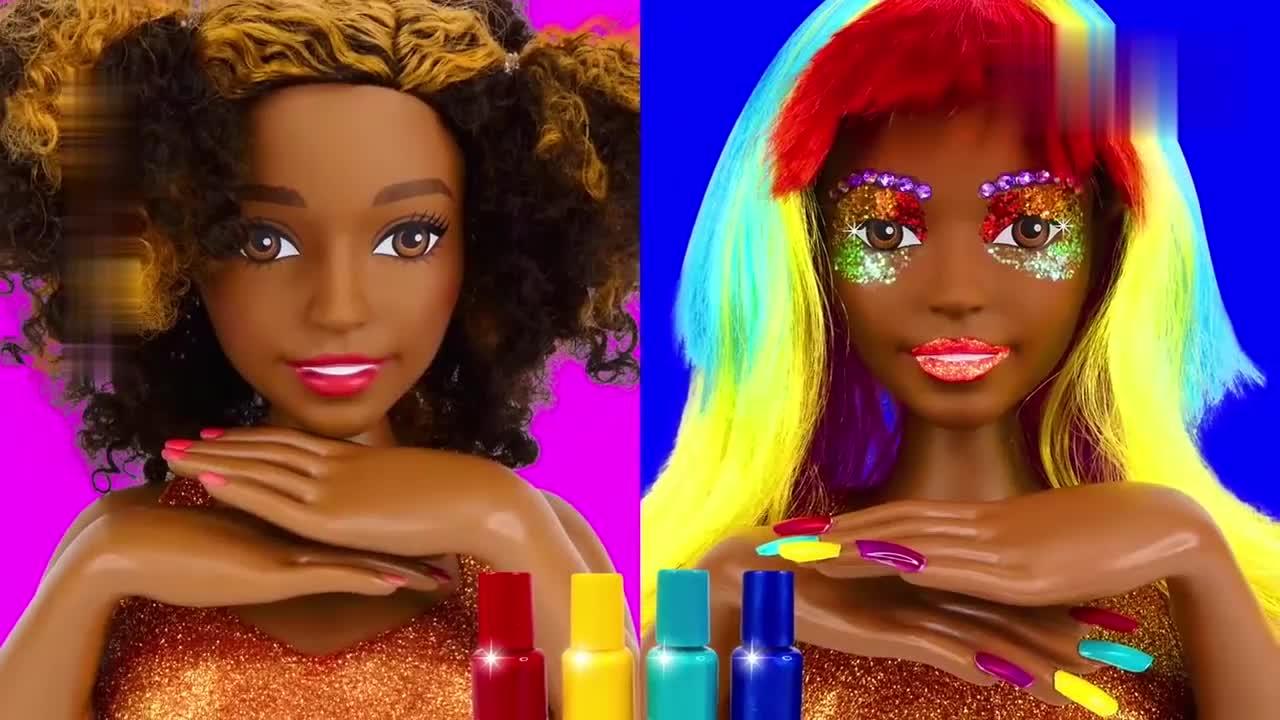 给芭比娃娃化妆美甲打扮的漂漂亮亮,太好玩了,创意手工DIY