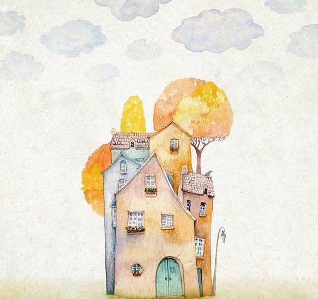 治愈系儿童插画,可爱的水彩画小房子,萌萌的