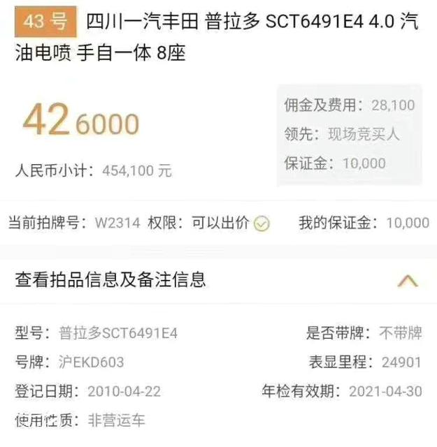 7年的丰田霸道行驶27万公里,拍卖35万,网友:还有更霸道的