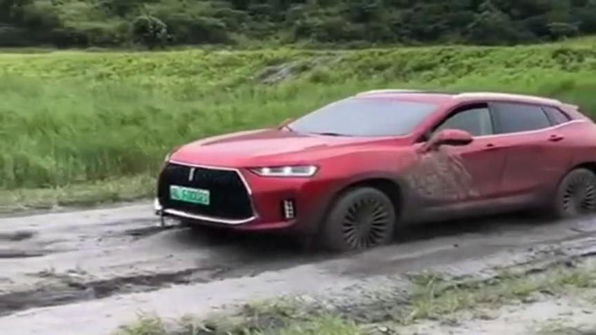 电动汽车走泥路动力惊人,瞧那霸气的样子,真给国产车长脸