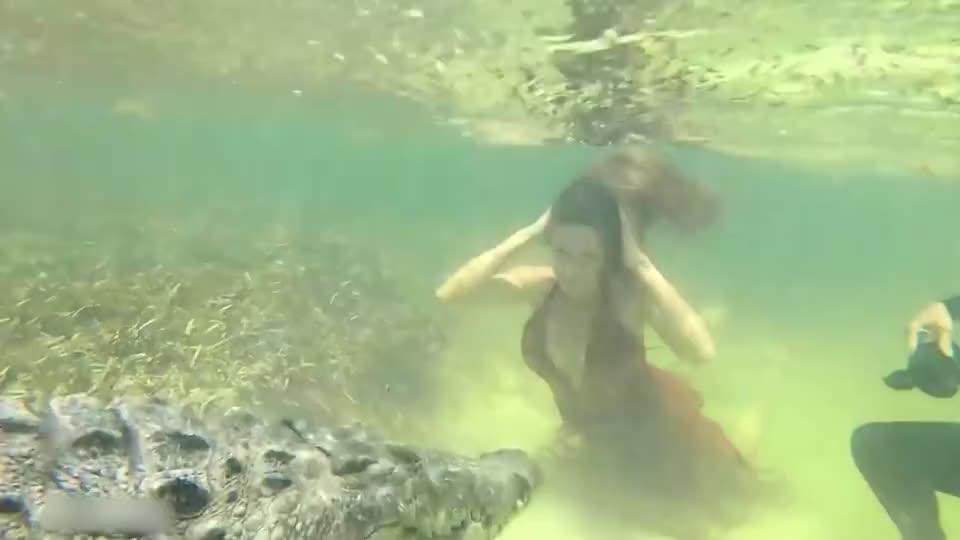 美女潜入水底,只为与两米长巨鳄合影,太刺激了