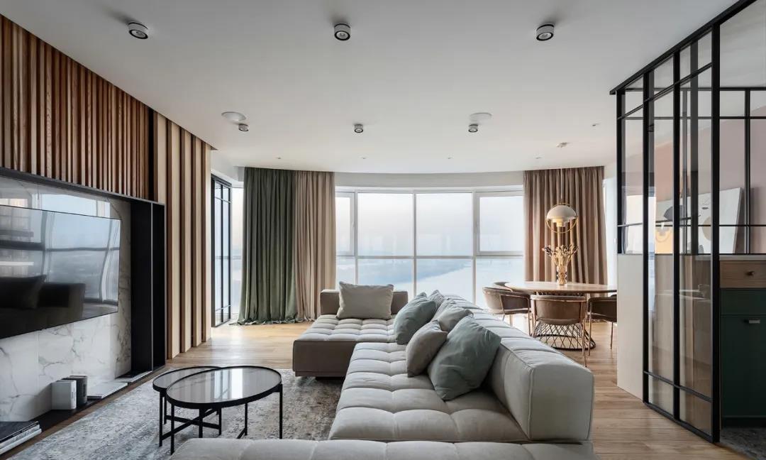 120㎡简约两室户,客厅隔断框+大镜柜的设计,通透又梦幻