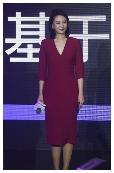 刘芳菲气质真不错,穿紧身红裙身段迷人,脸部发福也挡不住高级感