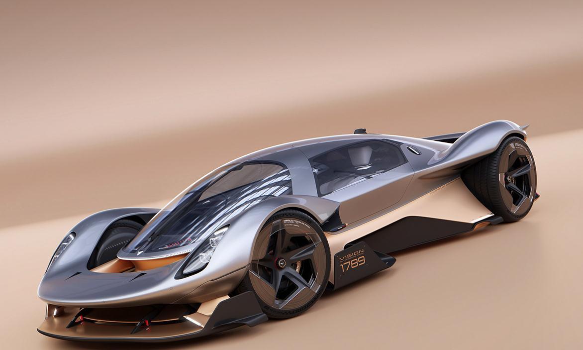Vision1789勒芒赛车渲染效果图,采用沼气燃料