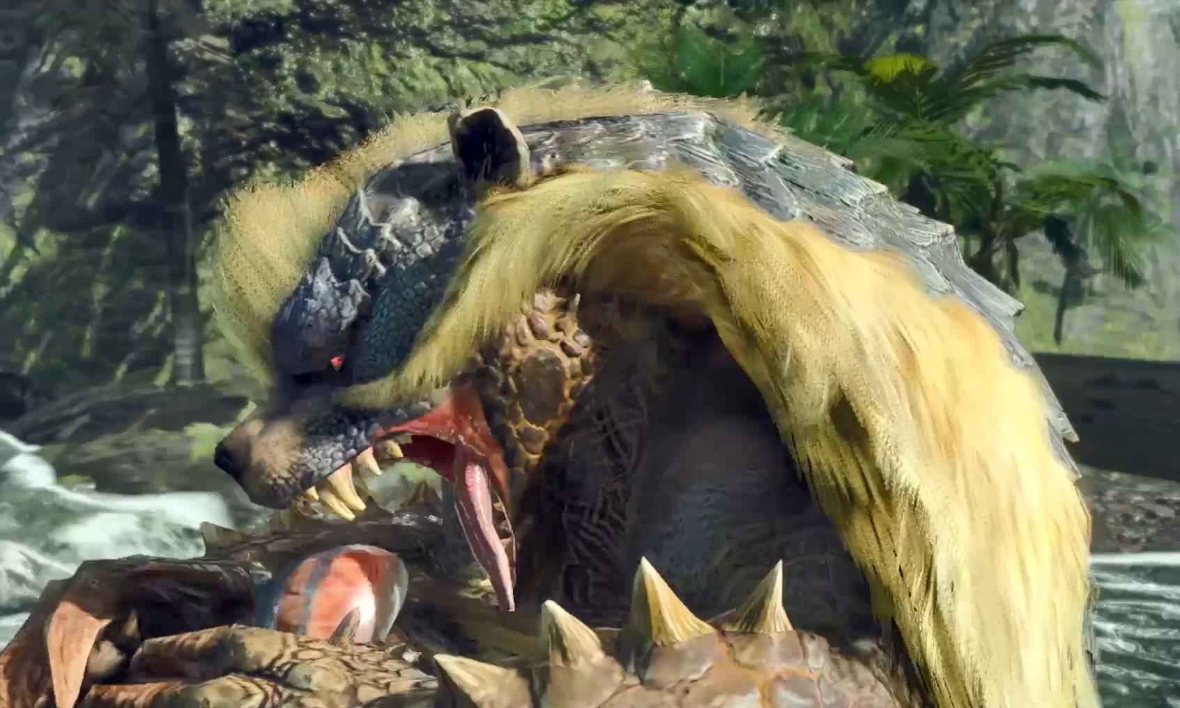 《怪物猎人:崛起》青熊兽展示爱采蜜捕鱼的吃货