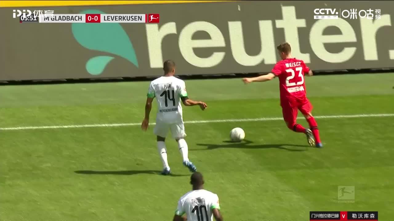 德米尔拜助攻,哈弗茨杀入禁区右侧推射破门,勒沃库森1-0门兴
