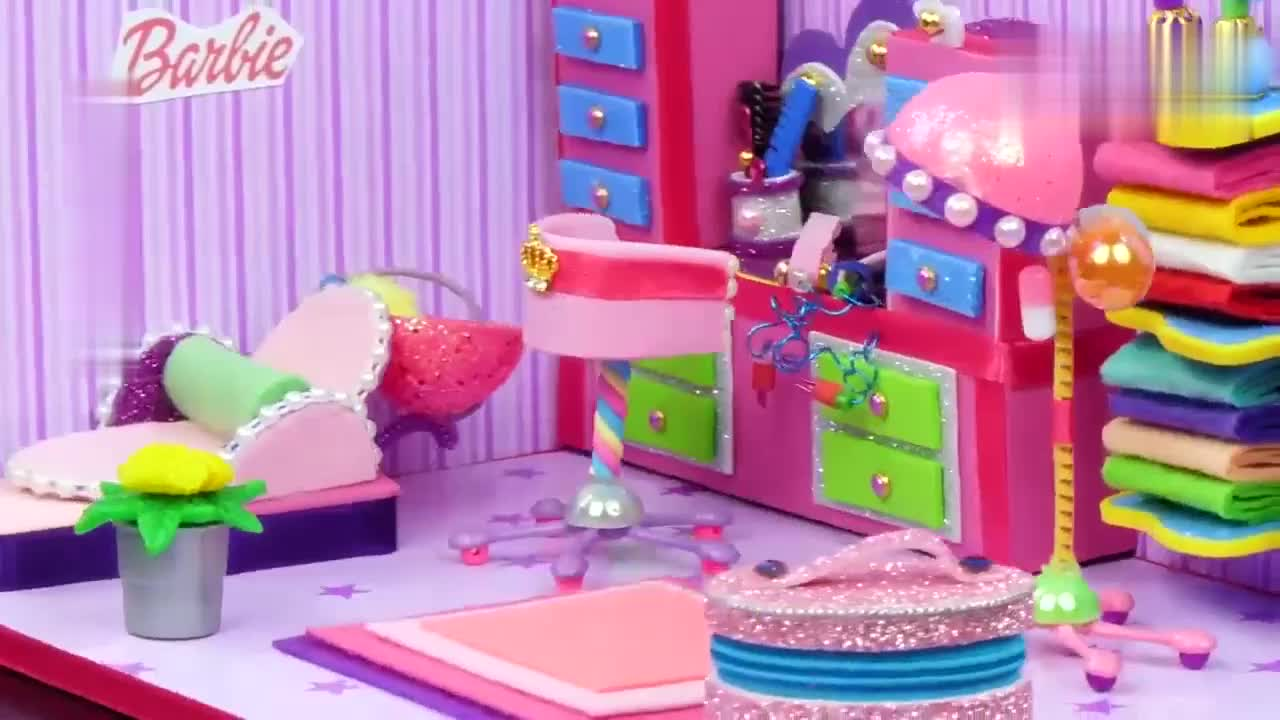 给芭比娃娃做迷你美容美发室,小巧可爱招人喜欢,手工DIY教程