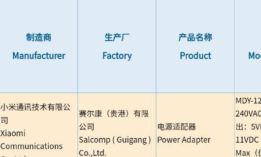小米新款充电器通过3C认证 最高支持55W快充
