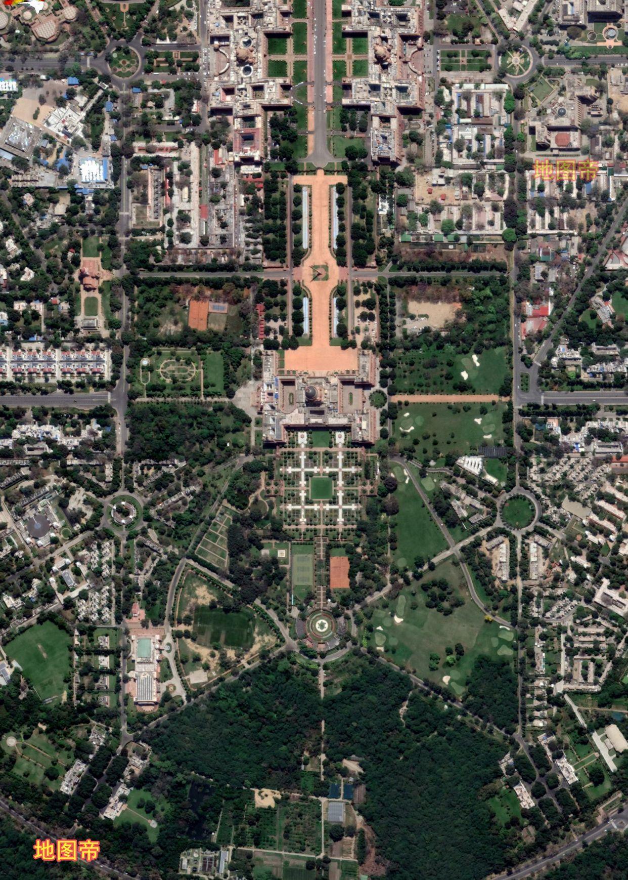 航拍印度新德里,城市规划还是可以的