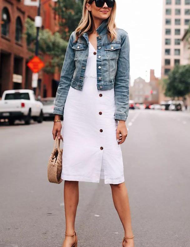 薄外套+裙子,现在穿刚刚好,时髦气质又百搭