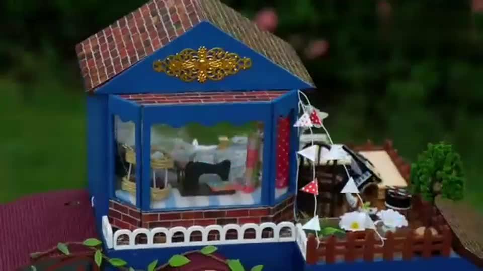 益智手工,DIY豪华版微型娃娃屋,小物件齐全太有创意了!