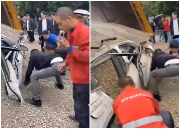 重庆一私家车遭沙石掩没,群众徒手刨沙救人