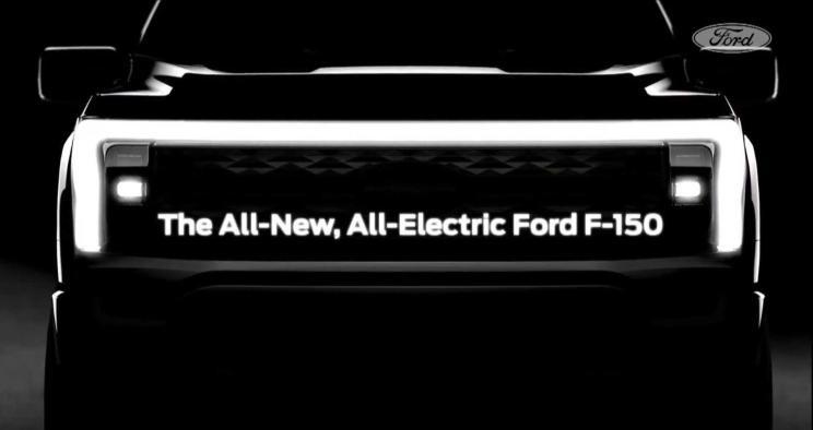 福特发布纯电版F-150预告图,采用富有科技感的外观设计