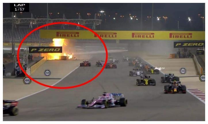 F1巴林站发车阶段大事故,格罗斯让赛车起火爆燃