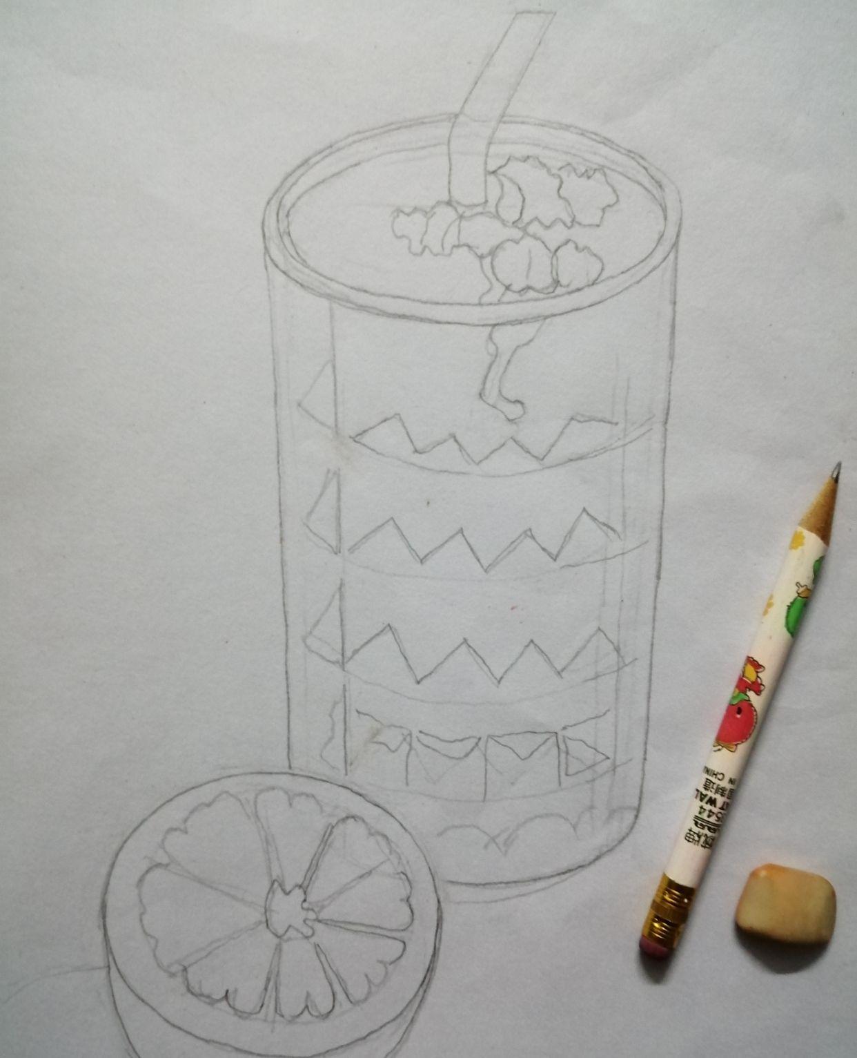彩铅画果杯的步骤和方法