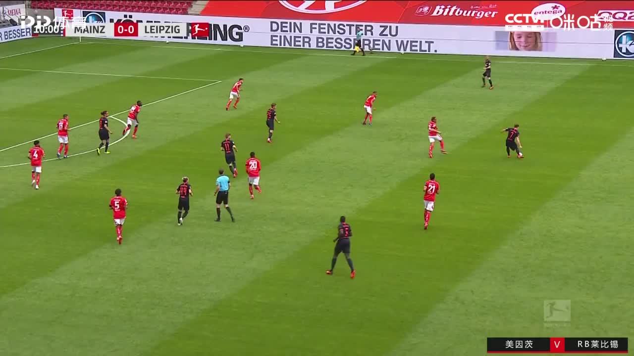 维尔纳在禁区内接应队友小角度推射破门!RB莱比锡1-0领先美因茨