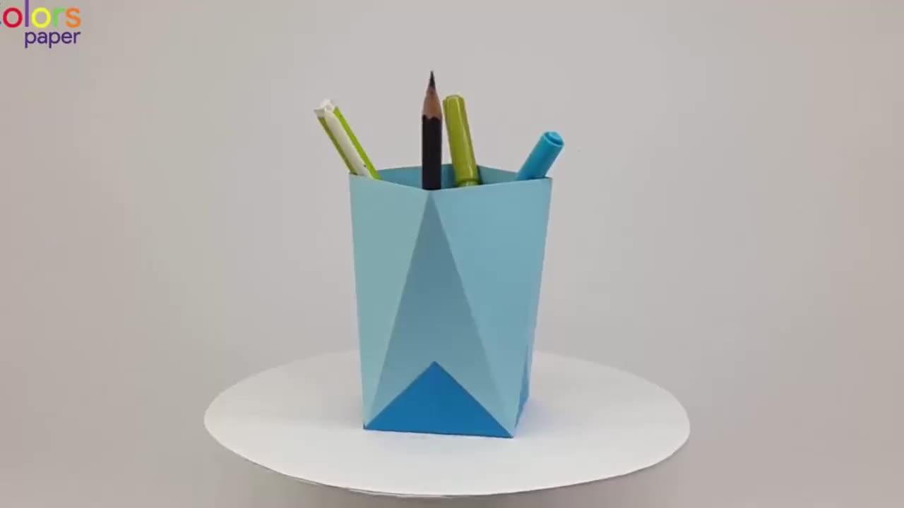 笔筒再也不用买,简单几步就能折一个,手工DIY折纸视频教程