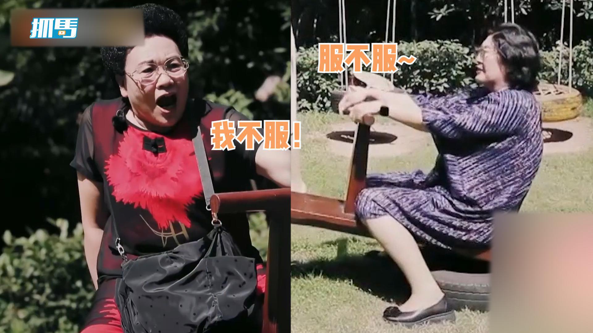 秦昊妈和张伦硕妈玩跷跷板,秦妈体重被力压,急到尖叫狂蹬小短腿