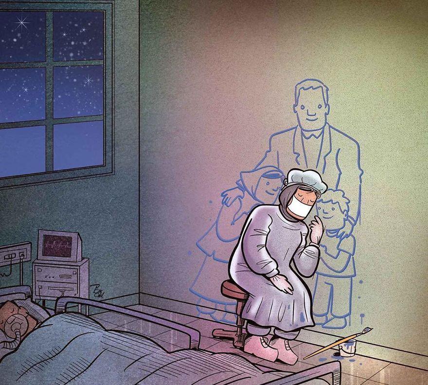 """感谢那些在疫情期间挺身而出的人,这组漫画令人""""泪目"""""""