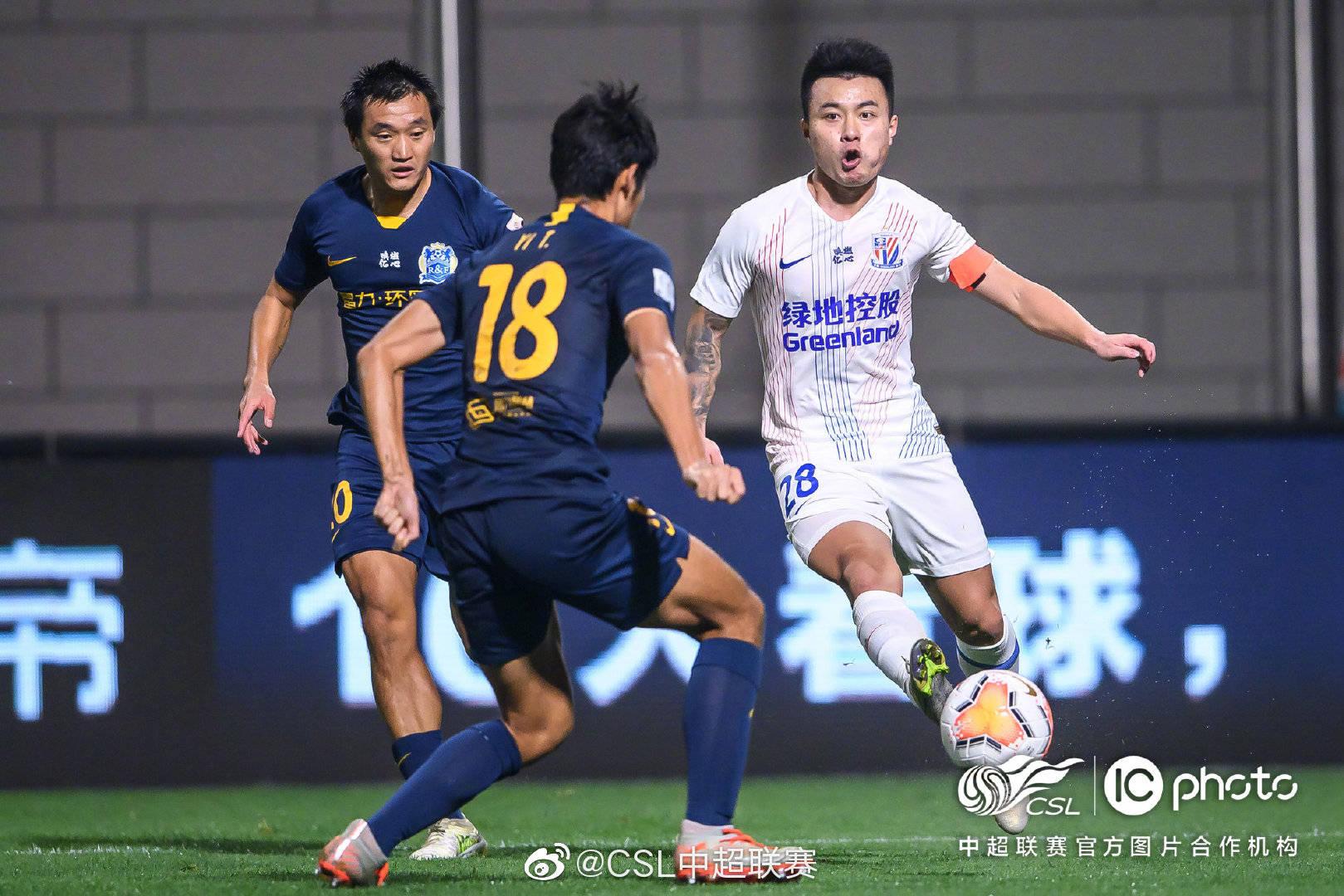 中超第十三轮广州富力0:2上海绿地申花,彭欣力与毕津浩各进一球