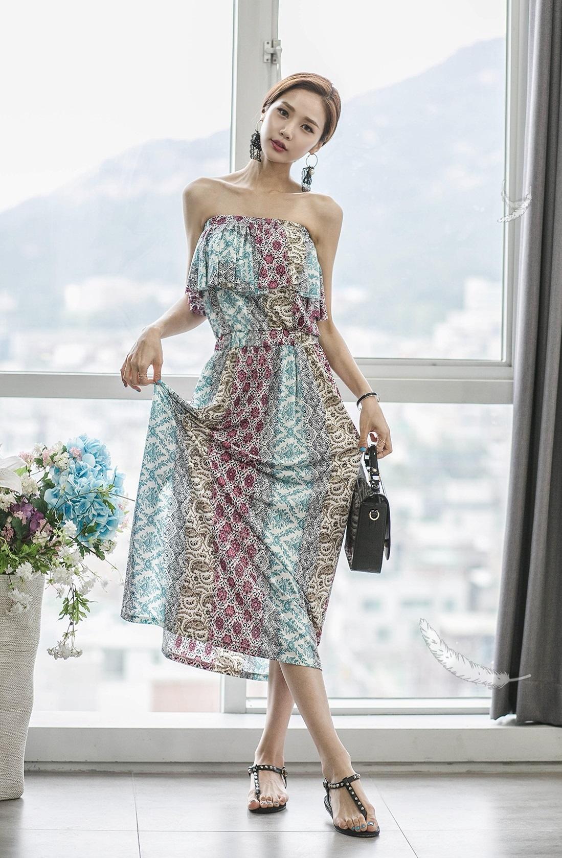 波西米亚风格一字肩长裙,休闲浪漫