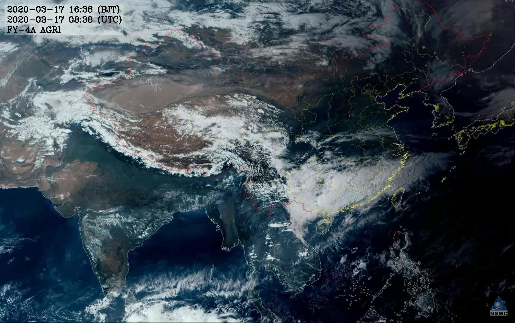 风云四号拍摄的最新云图 华北出现今年以来最强大风天气