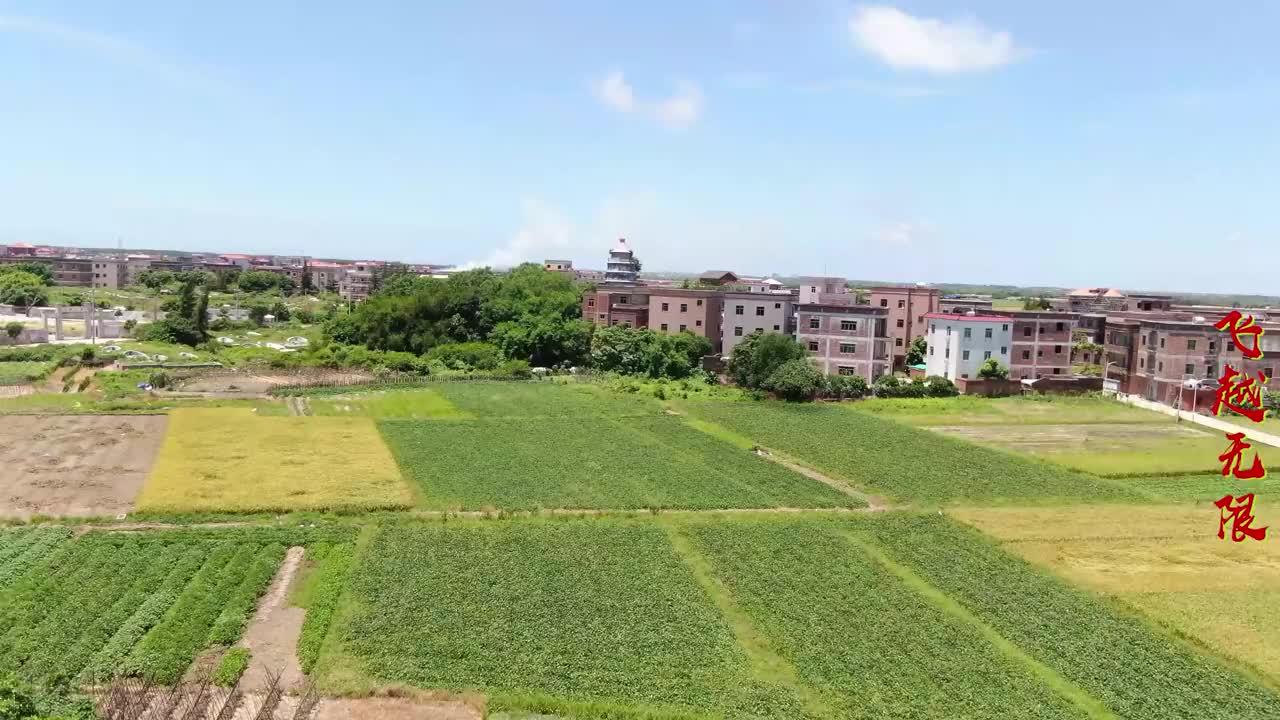 航拍广东吴阳双峰塔,当地八景之一