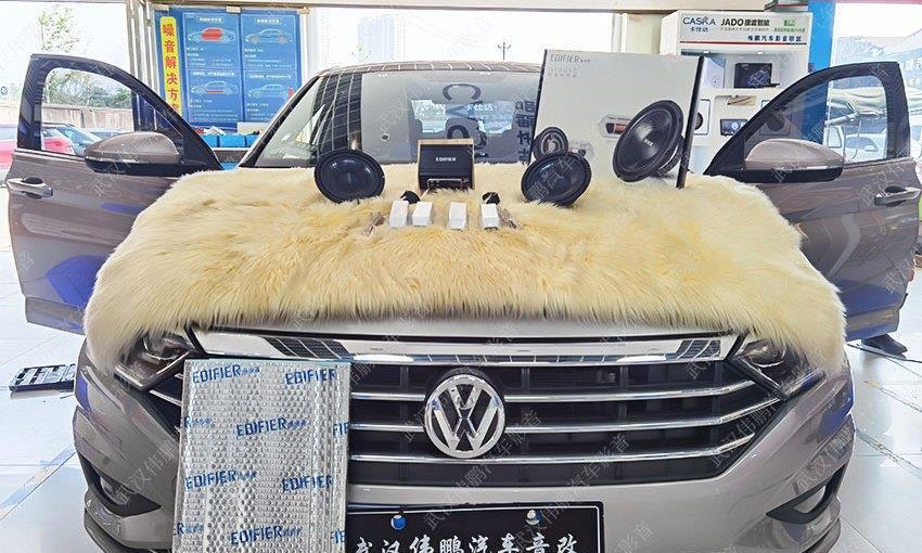 大众速腾音响无损改装升级漫步者套装「武汉伟鹏汽车音响改装」