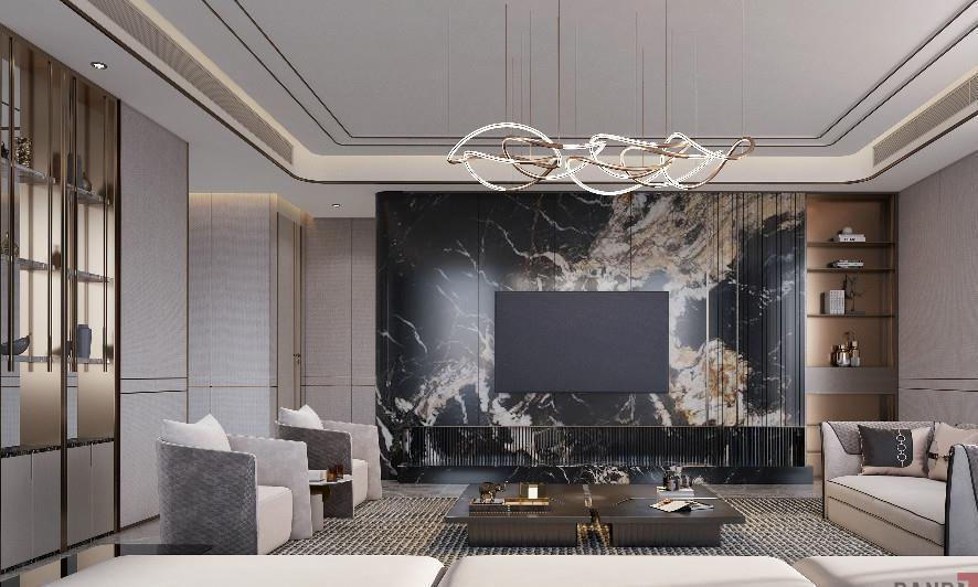 名雕装饰|380㎡现代轻奢装修,被客厅设计惊艳到,太漂亮了!