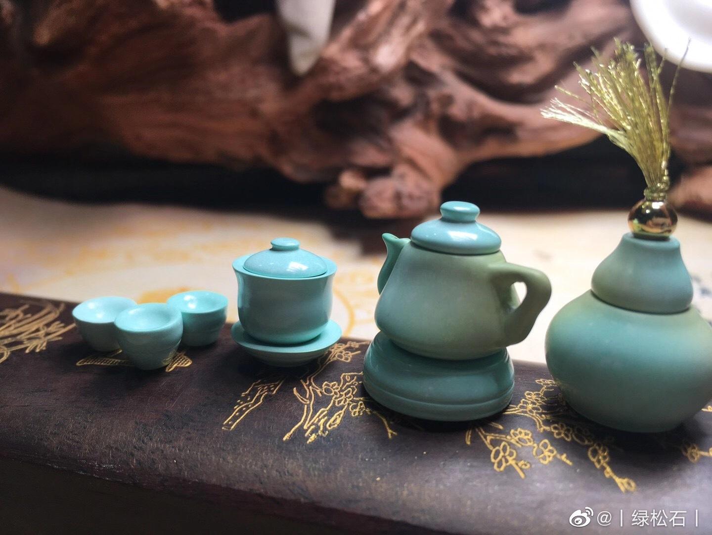 时尚个性手工打造,原矿松石迷你茶具!